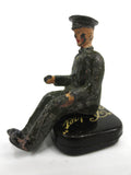 "Vintage Lead Toy Army Lorry Truck Driver with Uniform, Red lips, 1 1/2"" England"