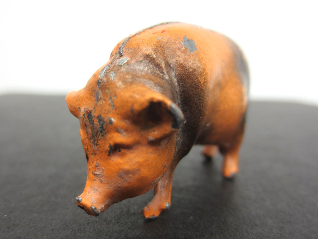 Vintage Lead Toy Painted Pig Farm Animal, Marked Made in England, 1 1/2""