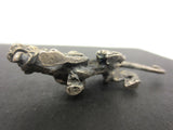 "Vintage Cougar Tiger Pewter Figurine 2 3/4"" Long, Attacking Position, Long Tail"