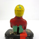 "Vintage Toy Race Car Driver 1 3/4"", Red uniform, Goggles and Yellow Helmet"
