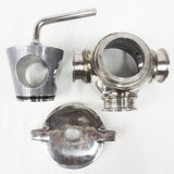 "3-Way Stainless Steel Sanitary Valve 3 1/2"" Flanges, Gaskets, Disassembles in 3"
