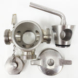 "3-Way Stainless Steel Sanitary Valve 2 1/2"" Male Threaded, Stopper, Disassembles"