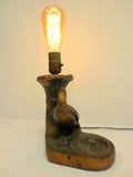 Vintage Antique 1930's Peacock Desk Light Lamp with Inkwell Rest, Edison Bulb