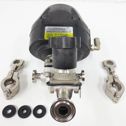 "Advantage Spring-to-Close Valve 1"" Flange 60 Psi w/ 2155 Diaphragm Valve, Clamps"