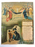 "Antique Mortuary Death Hand Painted Lithograph 16X12"" Order of Limburg Belgium"
