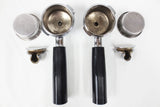 2 Vintage Espresso Coffee Machine Portafilters, Identical, Double Spouts & Baskets, 2 Group Italian Espresso Machine