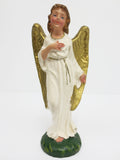 "Vintage Manger Figurine 4 3/4"" Angel Gold Wings, Christmas Creche, Italy"