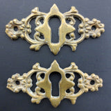 Pair of Antique Victorian Escutcheon Brass Keyhole Covers, Ornate Key Covers