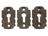 Lot 3 Antique Matching Escutcheon Key Hole Covers, Skeleton Key Covers
