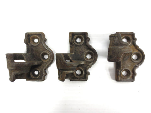Lot 3 Antique Cast Iron Hinges Signed House, Primitive Pivot, Cabinet Door Hinge