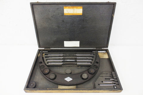 "Vintage Moore & Wright Sheffield Outside Micrometer 12-16"", Dovetail Wood Box, Tags, Instructions, Made in England"