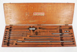 "Vintage Starrett #124 Inside Micrometer Set 1-26"", Original Wood Case, Head, Rods, Wrenches"