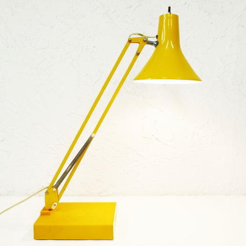 "Vintage Mid Century Articulated Swing Arm Drafting Desk Lamp 25"" Signed Luxo, Original Base, Bright Yellow"