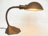 Antique Art Deco Desk Lamp, Gooseneck Light, Cast Iron Heptagon Base, Rewired