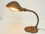Vintage Antique Art Deco Cast Iron Gooseneck Lamp Light, Ornate, Gold, Rewired