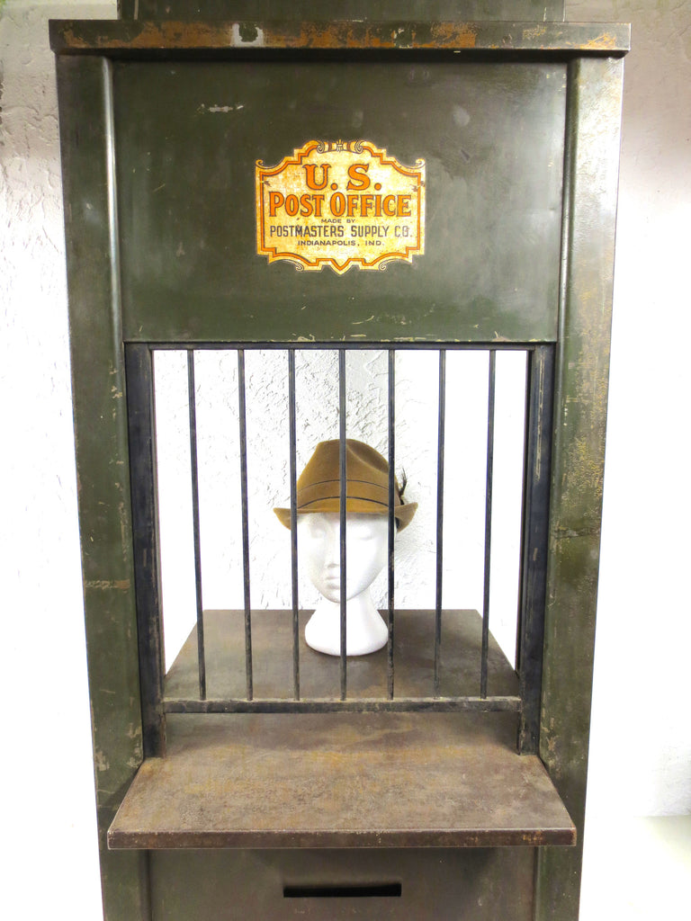 "Antique US Post Office Teller Cabinet 46"", Post Office Metal Cabinet, Built-In W"