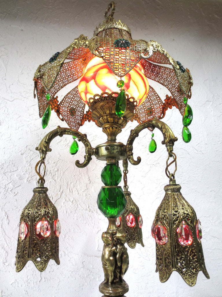 "Stunning Vintage Cherub Table Lamp Light Moroccan Style 37"", Pierced Lampshade,"
