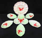 Vintage Carlton Ware Lobster Dish Set of 7, Deviled Eggs/Oyster, 5 Leaf Plates