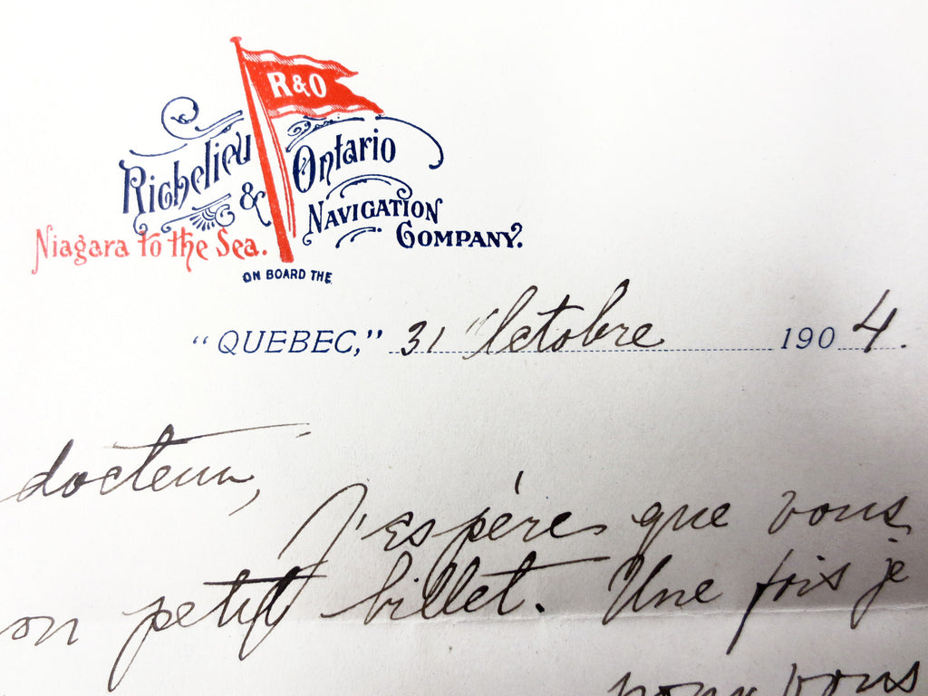 Antique 1904 Richelieu Ontario Navigation Company Personal Letter to a Quebec Do