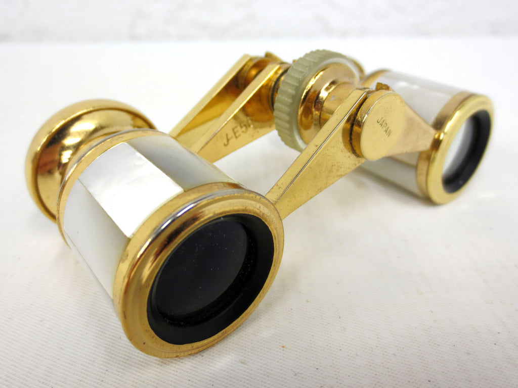 Vintage Opera Theater Glass Binoculars signed Mignon, 2.5X Mother of Pearl, Gold Tone, Original Case and Box, Japan