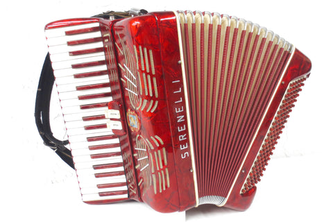 Vintage Serenelli Italy Piano Accordion, 41 Keys 120 Bass, Marbled Ruby Red