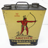 Vintage Archer Lubricants Motor Oil 2 US Gallons Can, Red Indian Archer, Omaha N