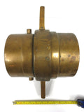 "Large Antique Brass 6"" Fire Truck Fire Hose Adapter Connector Coupling, Threaded"