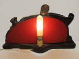 "Vintage 1950s TV Lamp Light Large 18"", Red Ornate Fiberglass Shade, Woman Birds"