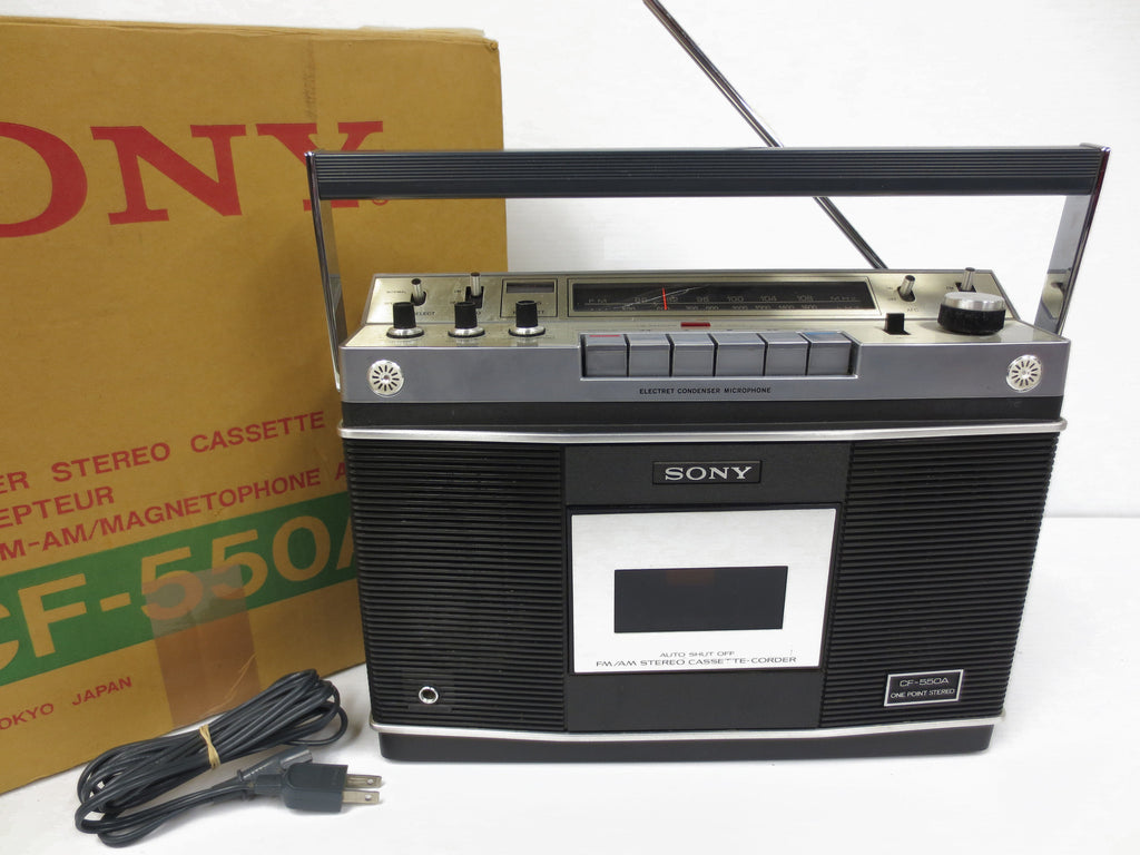 Rare Sony CF-550A 1972 Portable Radio Cassette Recorder in its ORIGINAL BOX