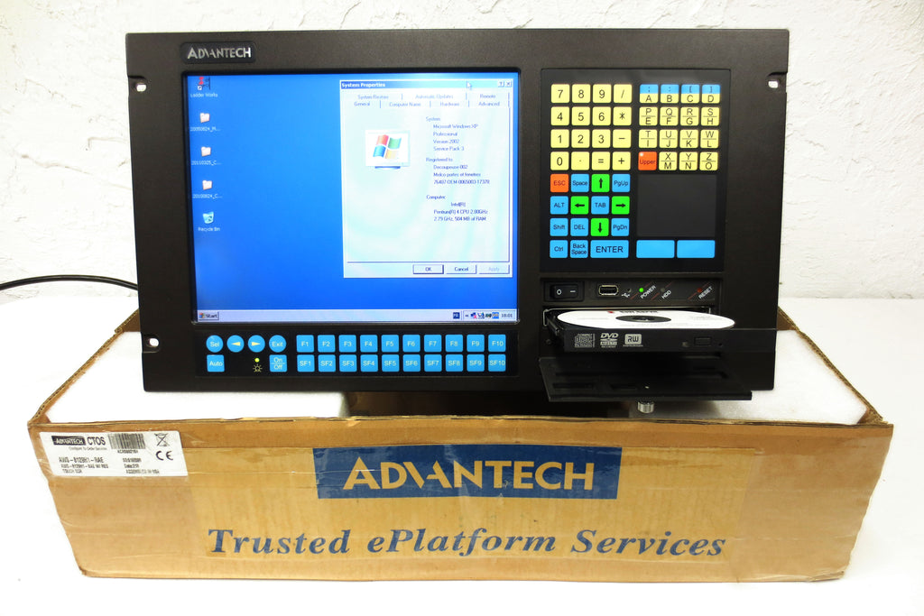 "Advantech Industrial Computer AWS-8129H, 12"" Touch Screen, USB, DVD, Windows OS"