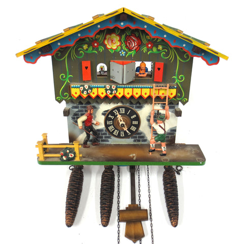 Vintage Farmer Daughter Musical Cuckoo Clock, Regula Germany Hand Painted Color