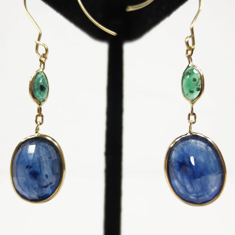 14k Gold Drop Earrings, 6.20 Carats Sapphires & Emeralds, 1280 Value Certified