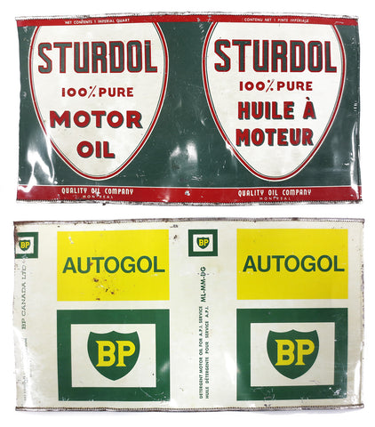 Vintage Sturdol Motor Oil and Autogol BP Detergent Metal Cans, Imperial Quart