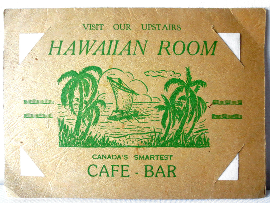 Vintage WWII 1943 Photo Advertising of Montreal's Tic Toc Cafe Bar Hawaiian Room
