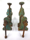Vintage Vise Clamps Pair, Red Green Cast Iron Bench Vise, Loft Industrial Deco