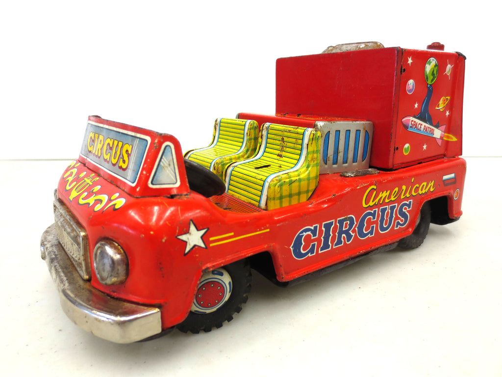 Vintage 1950's Tin Circus Toy Car, Exelo Japan, Clown Driving, American Circus