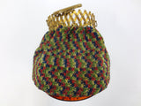 Vintage Women Beggar's Flapper Purse, Multicolor Knitting, Bakelite, Accordion