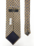 Vintage Alfred Dunhill Tobacco Silk Necktie Signed, Shiny Gold Blue Brown, 56""