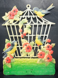 2 Vintage West German Caged Birds and Dogs Displays Cardboard Advertising, Birds, Cages and Poodles