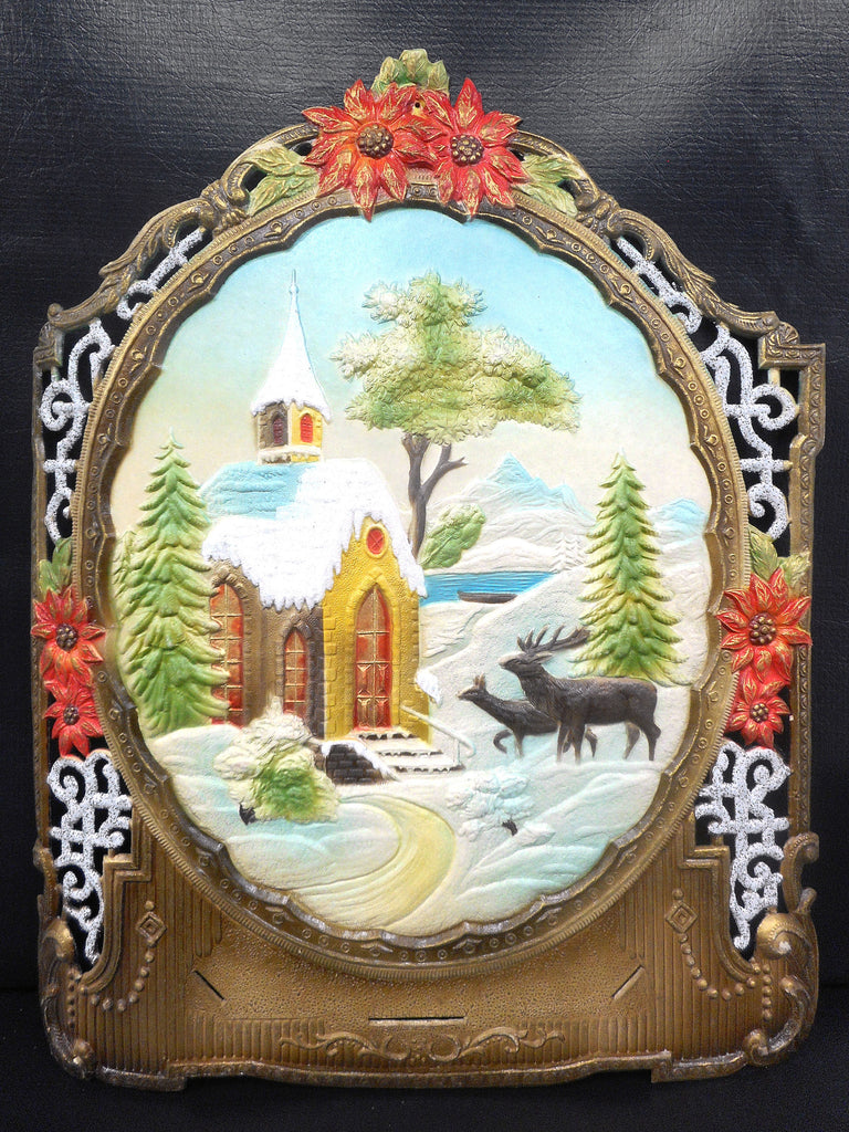 Vintage West German Christmas Display Cardboard Store Advertising, Church, Mooseand Flowers, 15 X 18.75""