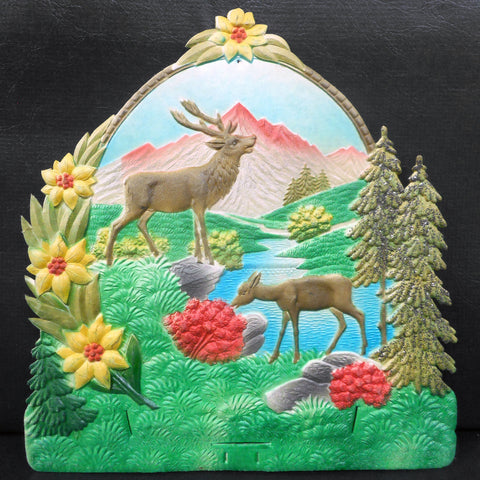 Vintage West German Nature Display Cardboard Store Advertising, Moose, River, Flowers and Mountain, 11.75 X 12.5""