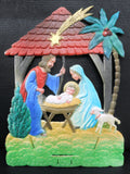 Vintage West German Nativity Display Cardboard Store Advertising, Joseph, Mary and Baby Jesus, 7.5 X 10""
