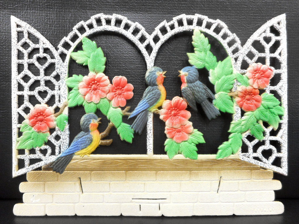 Vintage West German Birds and Flowers Display Cardboard Store Advertising, Birds in a Cage, 12.25 X 9""