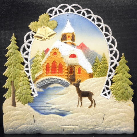 Vintage West German Christmas Display Cardboard Store Advertising, Deer, River, Church and Golden Bells, 11.5 X 11.75""