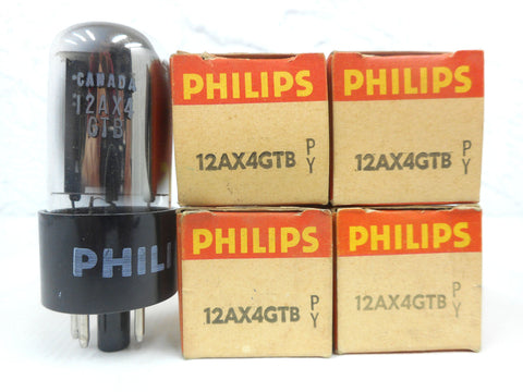 Lot 4 Vintage Philips 12AX4GTB Glass Radio Vacuum Tubes Bulbs, Original Box, New Old Stock NOS