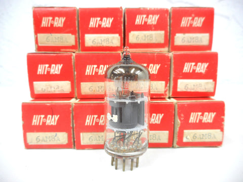 Lot 12 Vintage Hit-Ray 6AM8A Glass Radio Vacuum Tubes Bulbs, Original Box, New Old Stock NOS