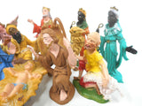 11 Vintage Christmas Manger Creche Figurines Made in Italy, Matching Set, Angel, Kings, Wizards, Beggar, Camel, Baby Jesus, Mary, Joseph