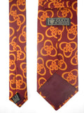 "Vintage Gucci Italy Silk Necktie, Shiny Orange and Red Links, 56"", Chic Luxury"