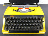 Vintage Yellow Brother Charger 11 Portable Typewriter, Retro Look, Black Case