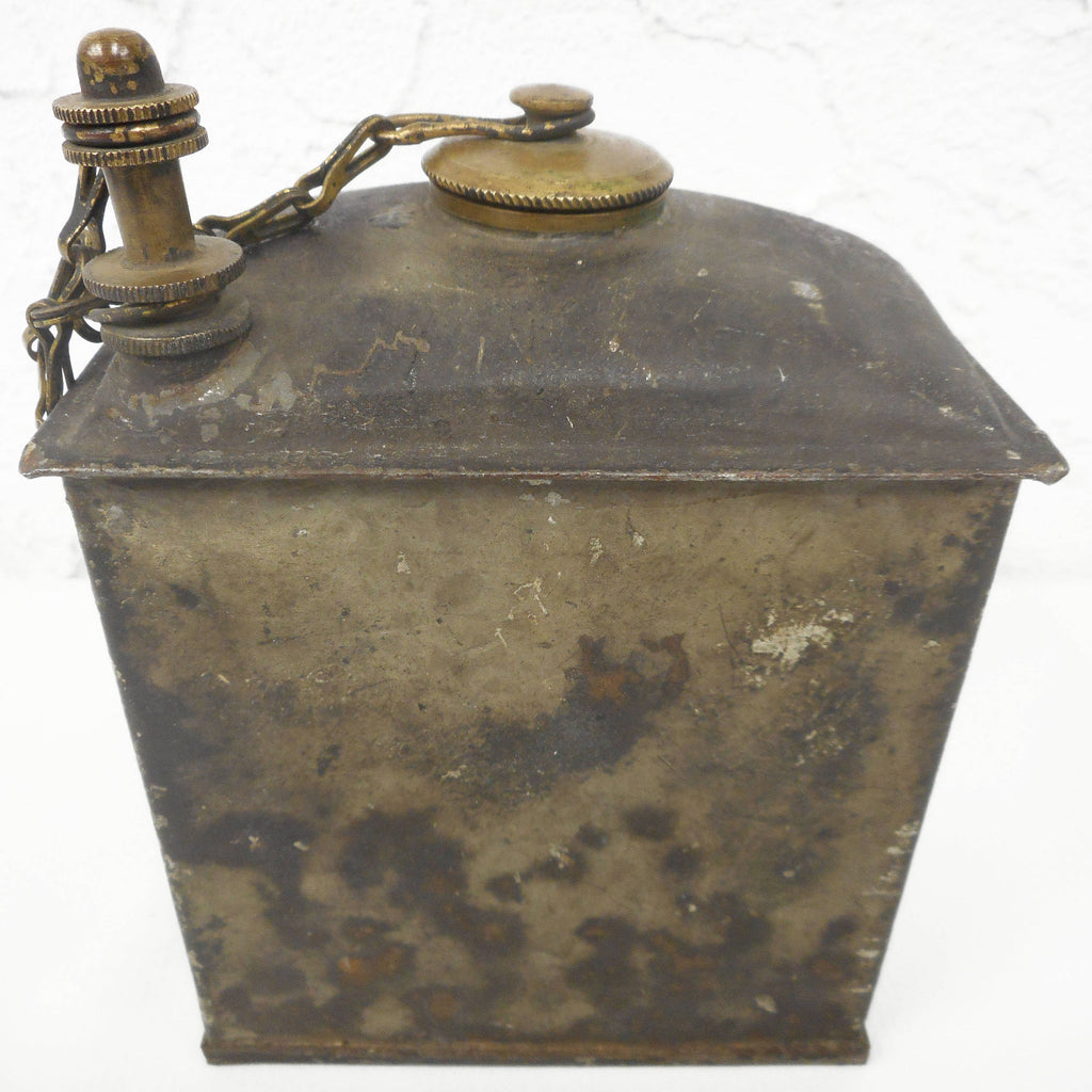 Antique WWI Army Military Brass Lamp Gas Canister Box with Screw On Brass Lid